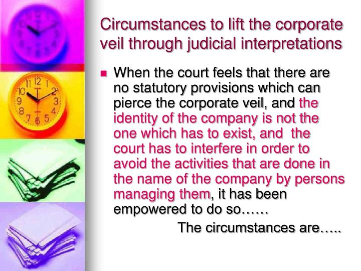 Circumstances to lift the corporate
