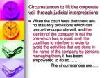 circumstances to lift the corporate veil through judicial interpretations