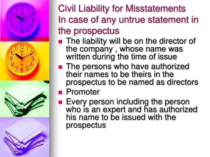 Civil Liability for Misstatements
