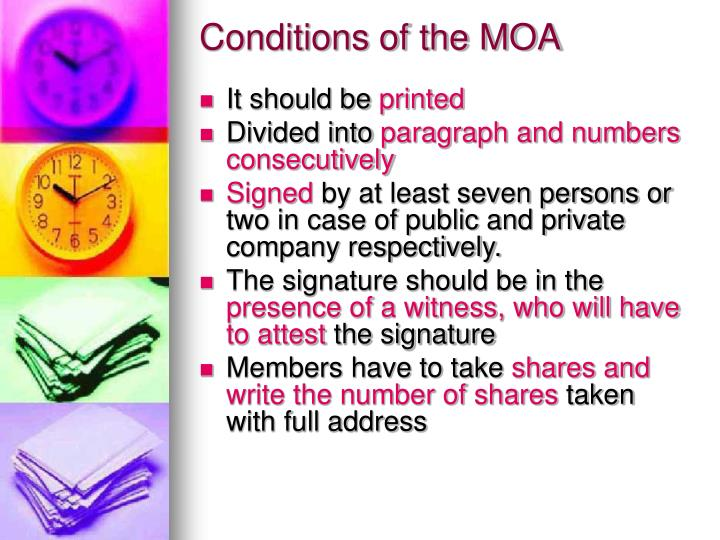 Conditions of the MOA