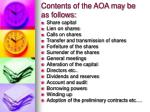 contents of the aoa may be as follows
