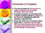 conversion of company