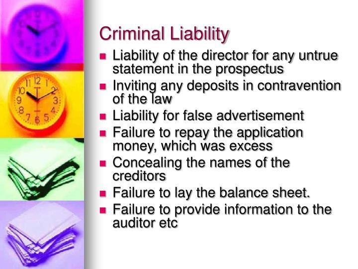 Criminal Liability