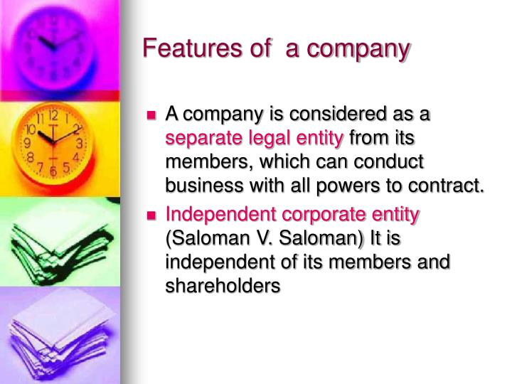 Features of  a company