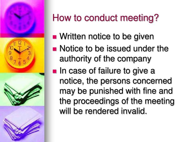 How to conduct meeting?