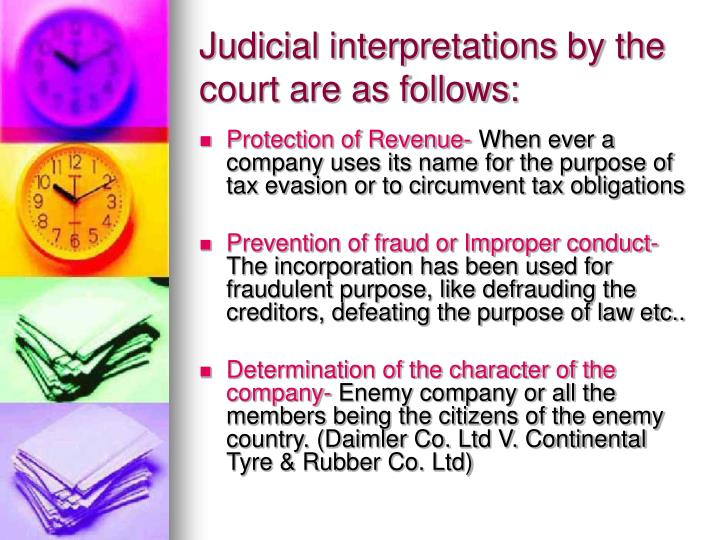Judicial interpretations by the court are as follows: