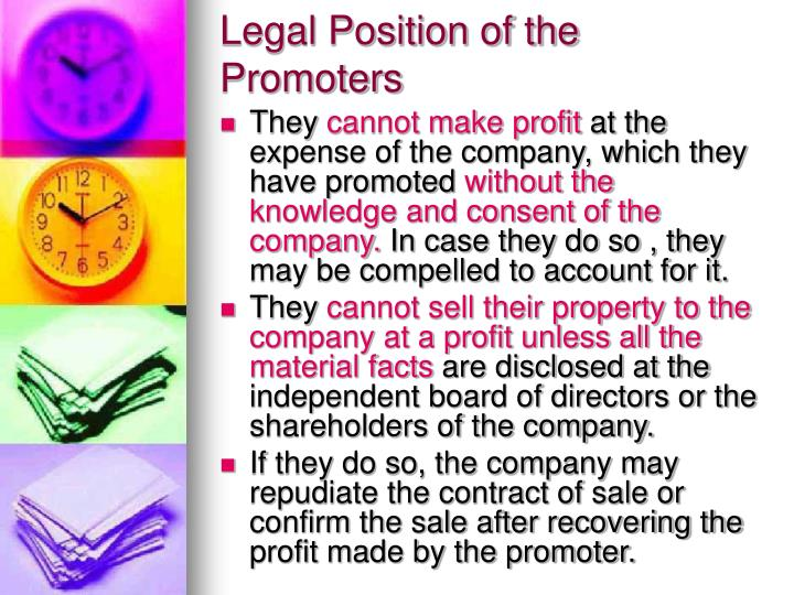 Legal Position of the Promoters