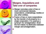 mergers acquisitions and take over of companies
