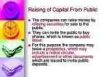 raising of capital from public