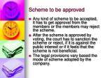 scheme to be approved