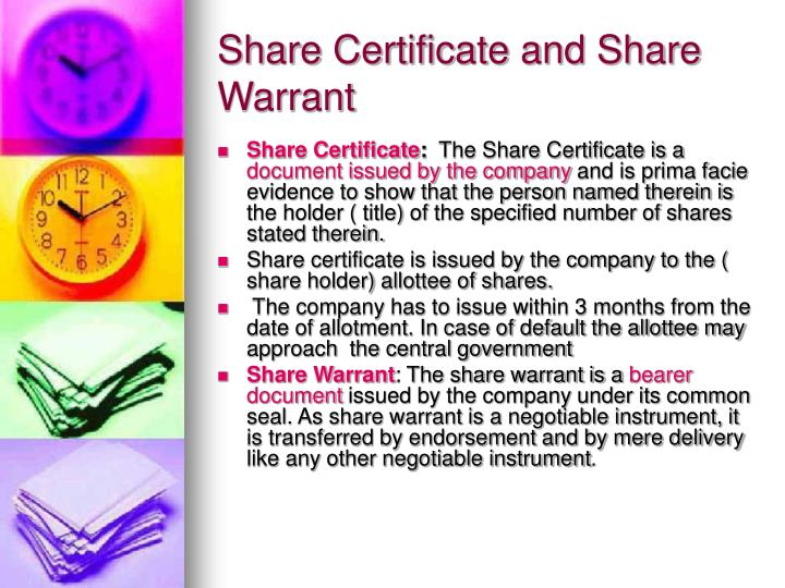 Share Certificate and Share Warrant