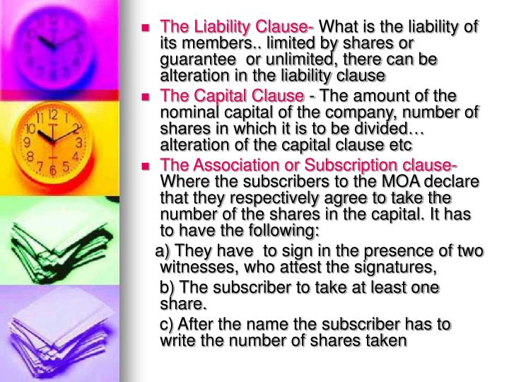 The Liability Clause-