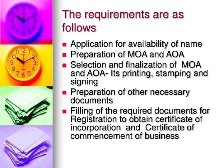 The requirements are as follows