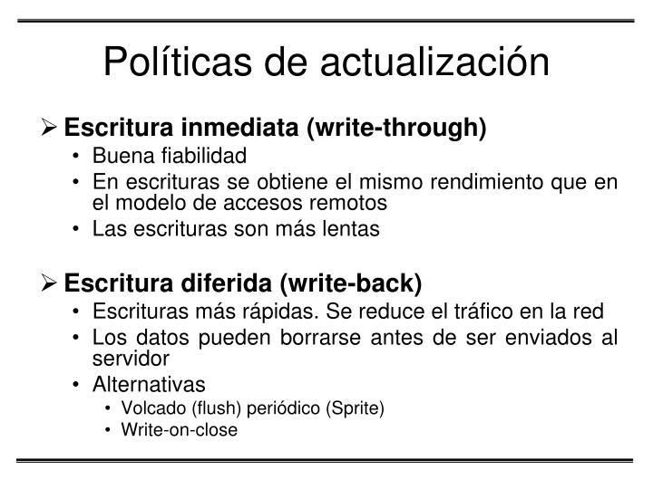 Políticas de actualización