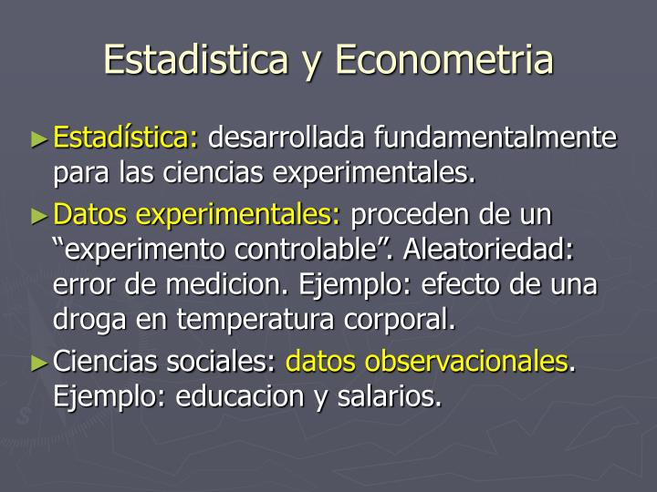 Estadistica y Econometria