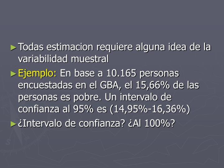 Todas estimacion requiere alguna idea de la variabilidad muestral