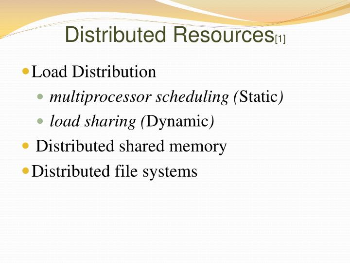 Distributed Resources
