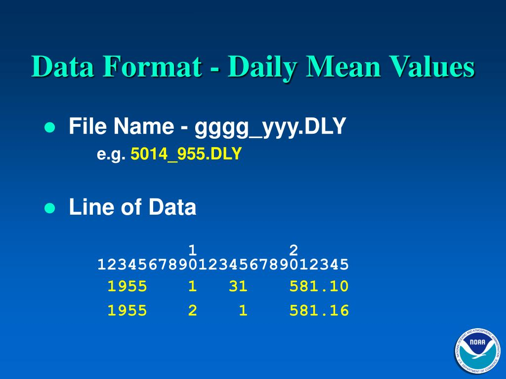 Data Format - Daily Mean Values