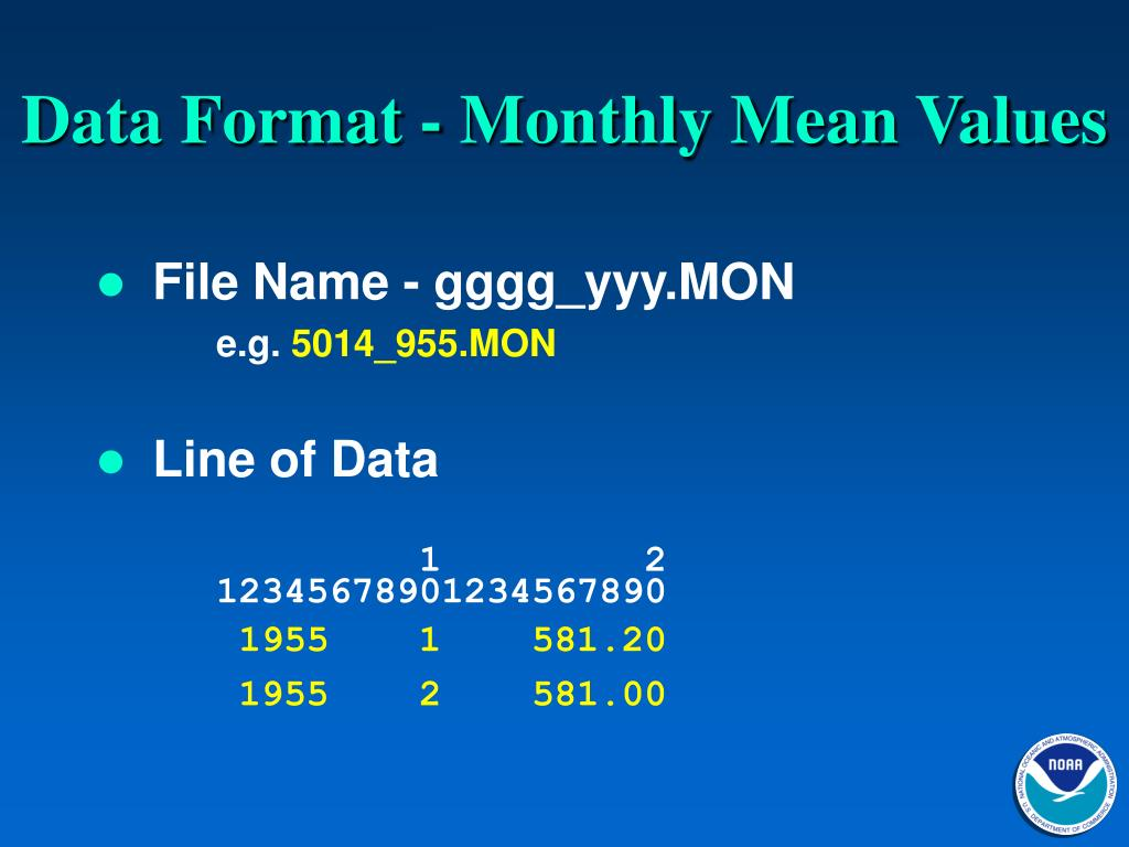 Data Format - Monthly Mean Values