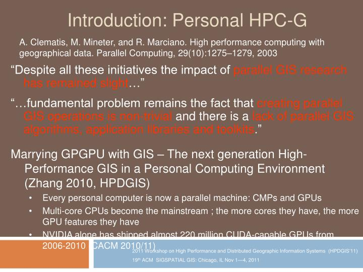Introduction personal hpc g