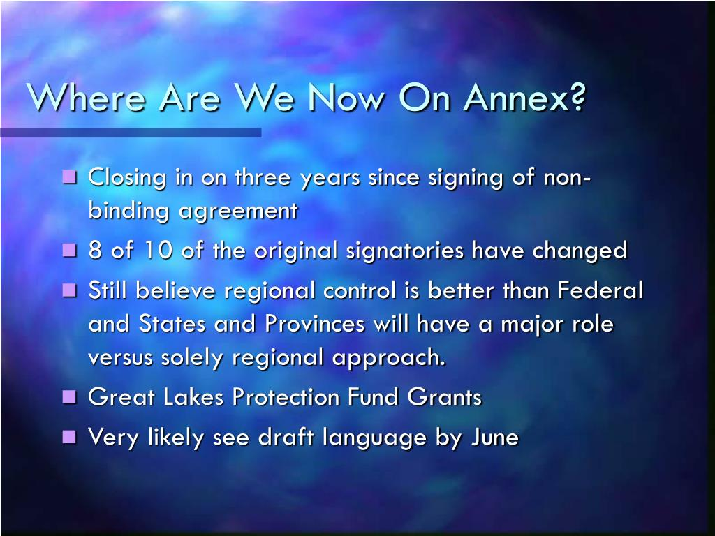 Where Are We Now On Annex?