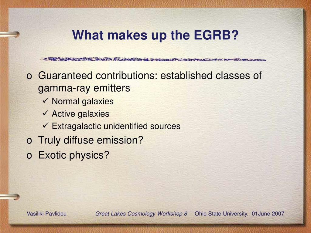 What makes up the EGRB?