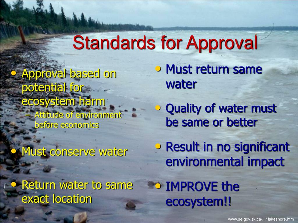 Approval based on potential for ecosystem harm