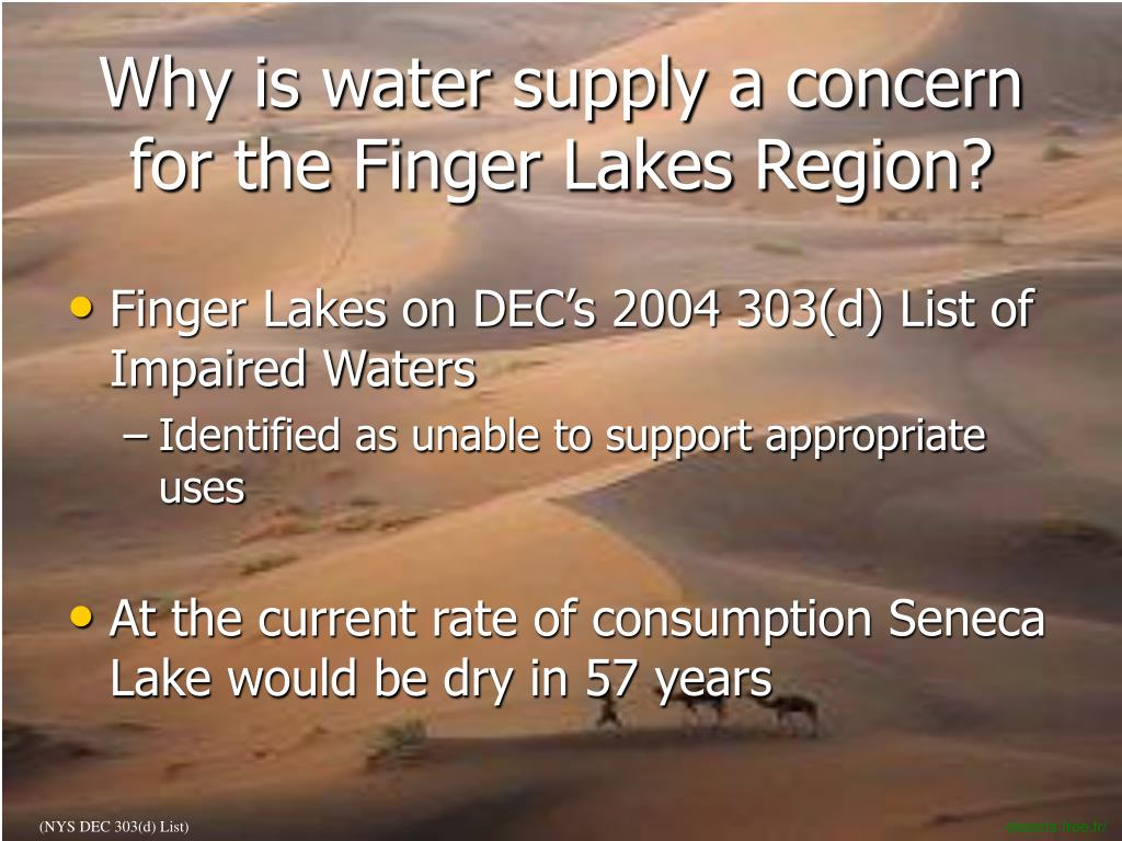 Why is water supply a concern for the Finger Lakes Region?