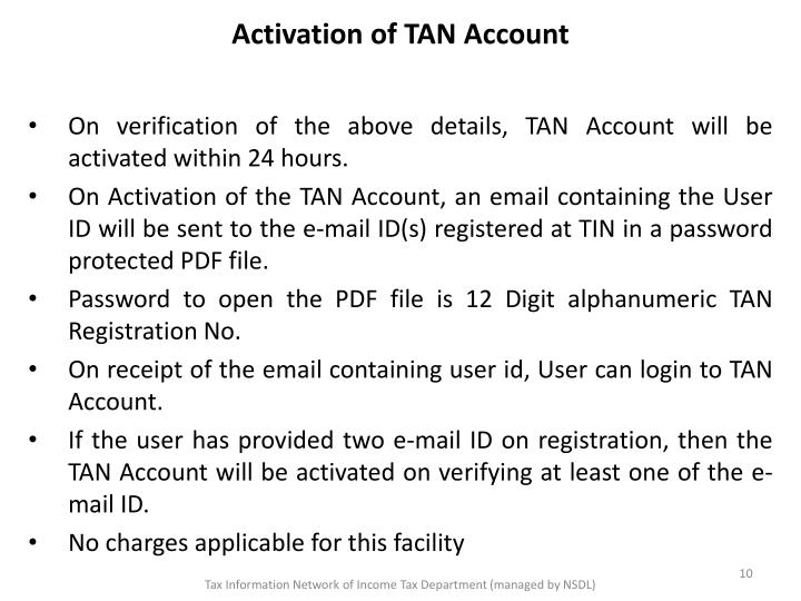 Activation of TAN Account