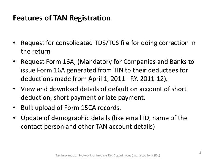 Features of tan registration