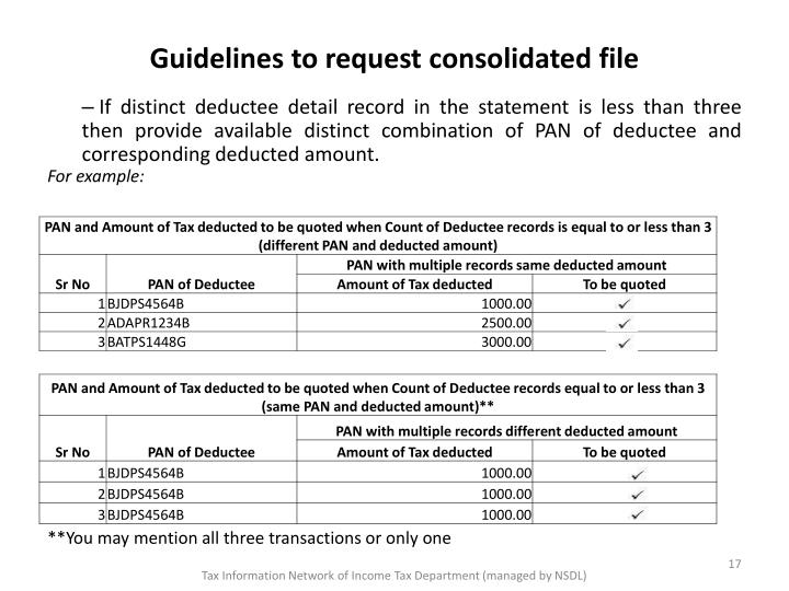Guidelines to request consolidated file