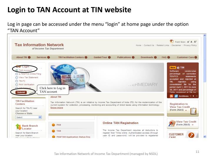 Login to TAN Account at TIN website