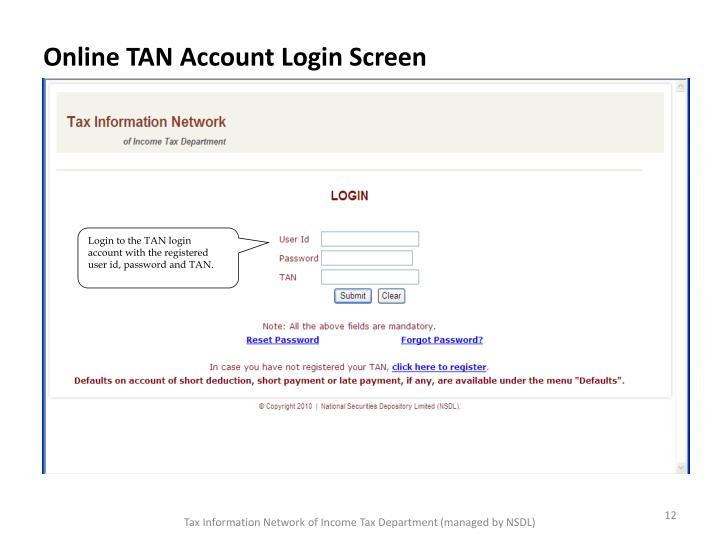 Online TAN Account Login Screen