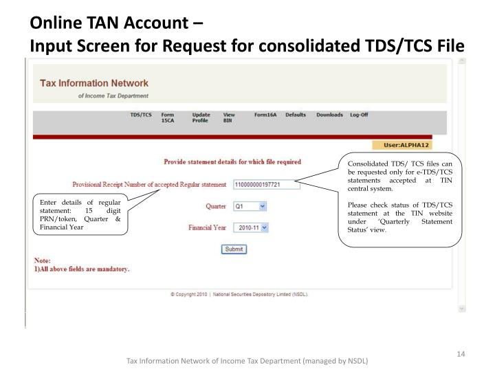 Online TAN Account –
