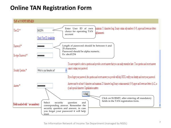 Online TAN Registration Form