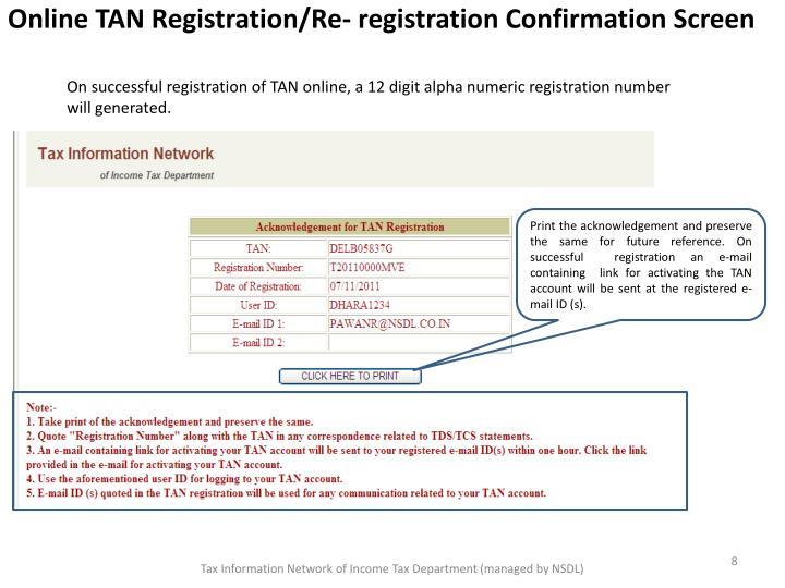 Online TAN Registration/Re- registration Confirmation Screen