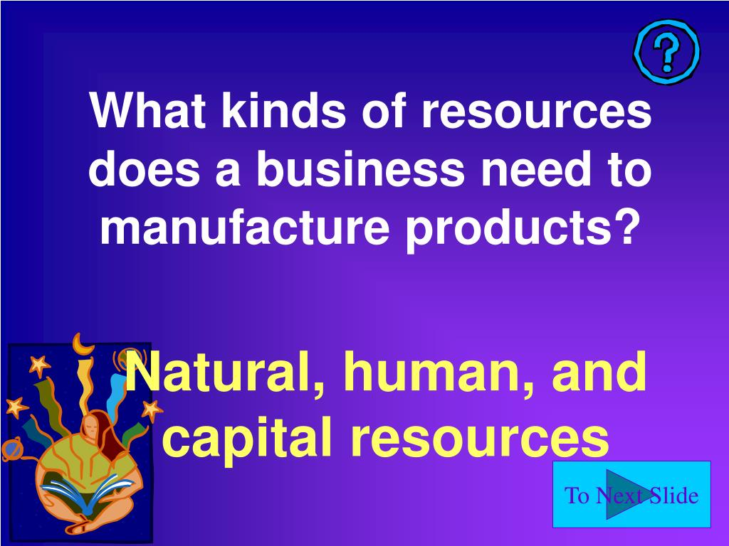 What kinds of resources does a business need to manufacture products?