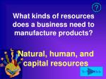 what kinds of resources does a business need to manufacture products