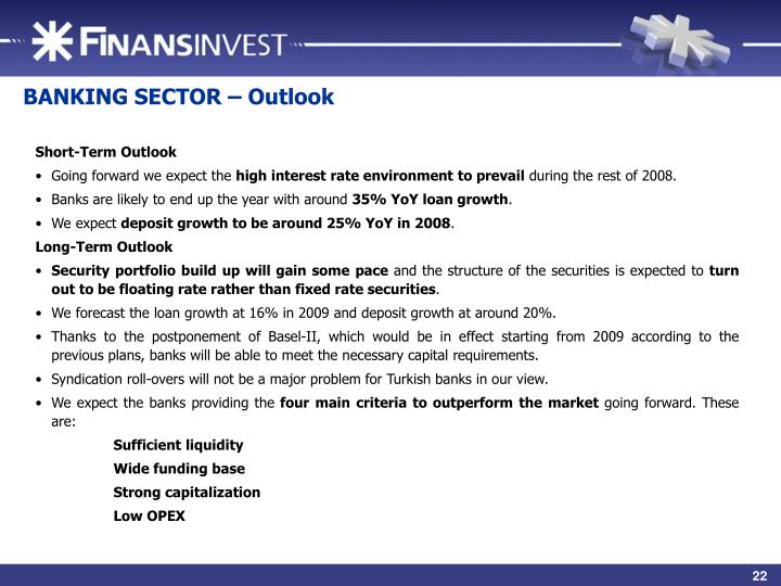 BANKING SECTOR – Outlook