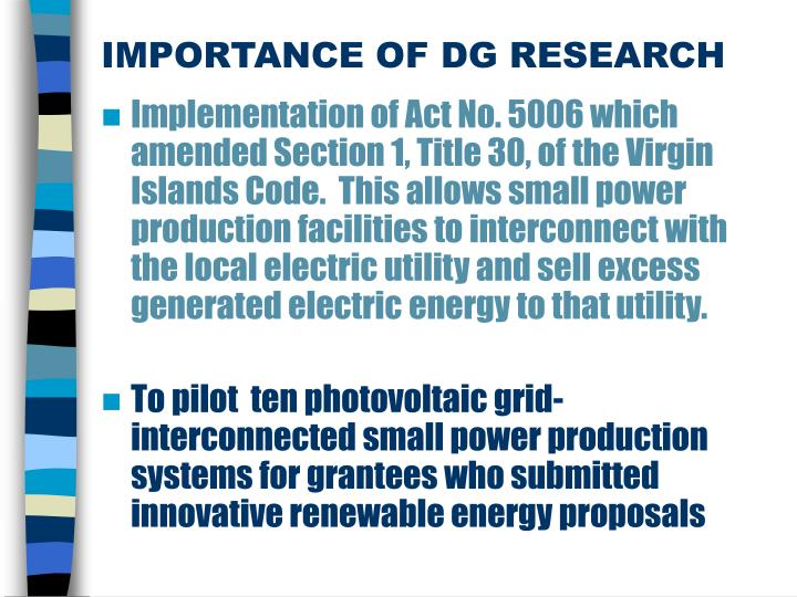 IMPORTANCE OF DG RESEARCH
