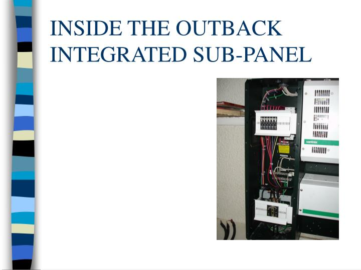 INSIDE THE OUTBACK INTEGRATED SUB-PANEL