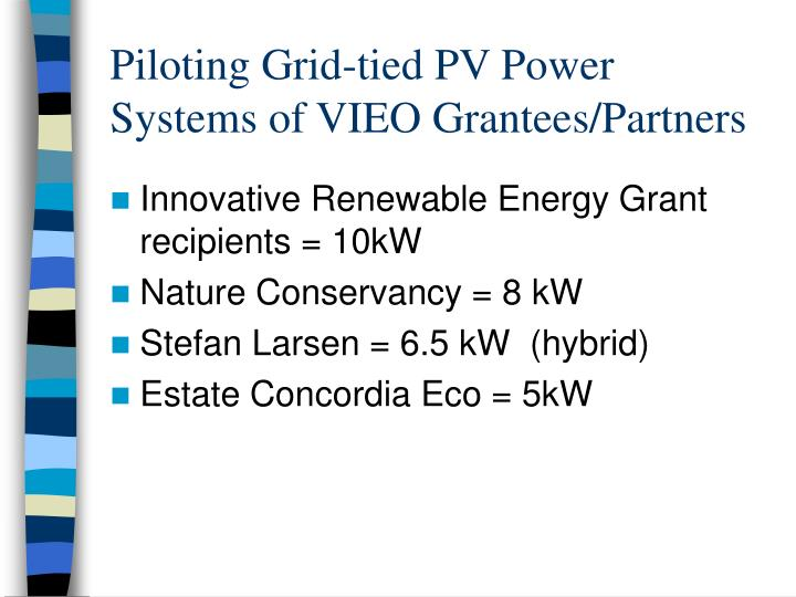 Piloting Grid-tied PV Power Systems of VIEO Grantees/Partners