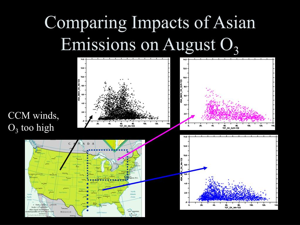 Comparing Impacts of Asian Emissions on August O