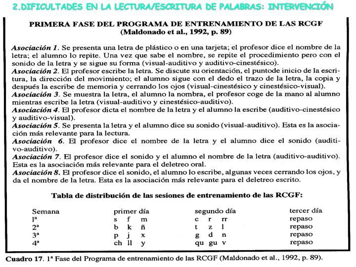 2.DIFICULTADES EN LA LECTURA/ESCRITURA DE PALABRAS: INTERVENCIÓN