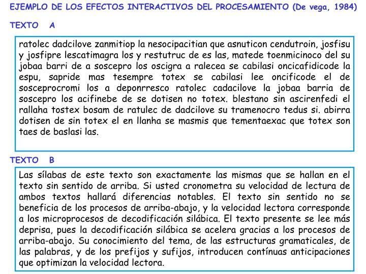 EJEMPLO DE LOS EFECTOS INTERACTIVOS DEL PROCESAMIENTO (De vega, 1984)