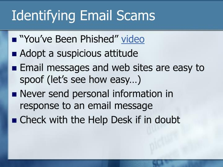 Identifying Email Scams