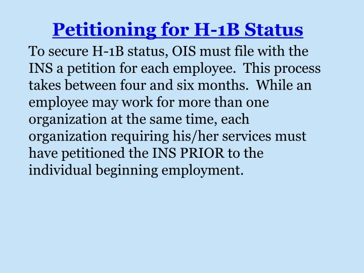 Petitioning for H-1B Status
