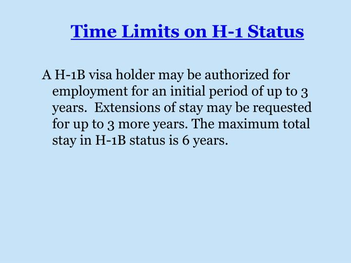 Time Limits on H-1 Status