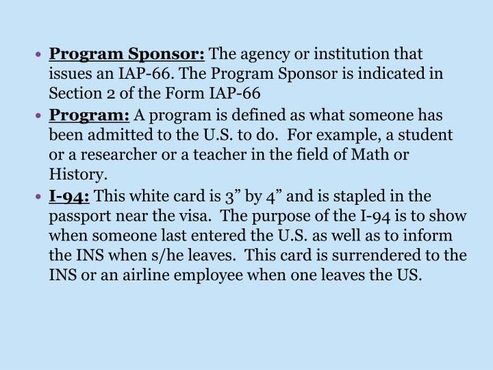 Program Sponsor: