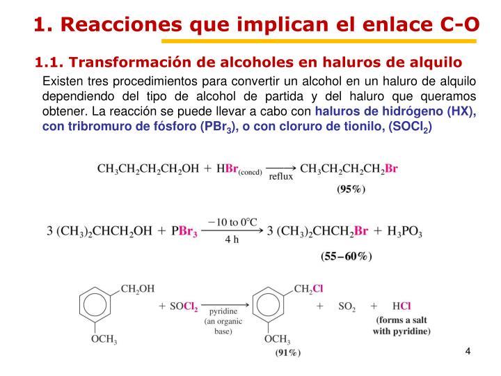1. Reacciones que implican el enlace C-O